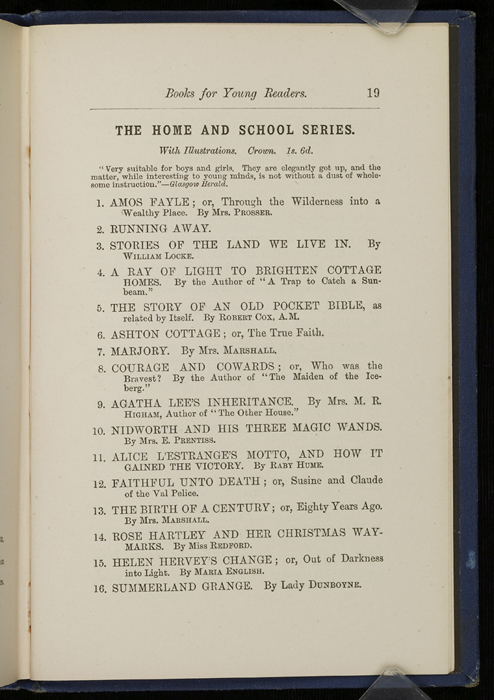 "Nineteenth Page of Back Advertisements in 1886 James Nisbet & Co. ""New ed. Golden Ladder Series"" Reprint"