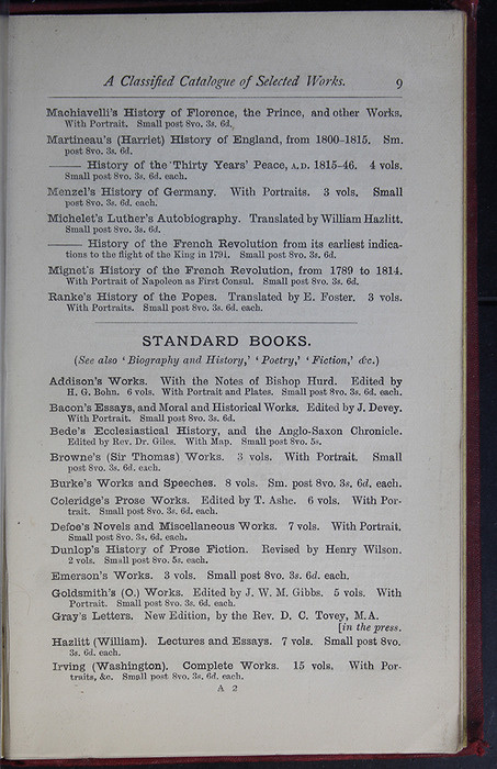 Ninth Page of Back Advertisements of the G. Bell 1889 Reprint