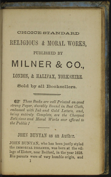 First Page of Back Advertisements in the [1868] Milner & Co. Reprint, Version 1