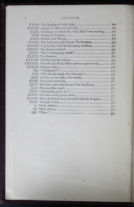 Second Page of the Table of Contents for the [1899] Geo. M. Hill Co. Reprint