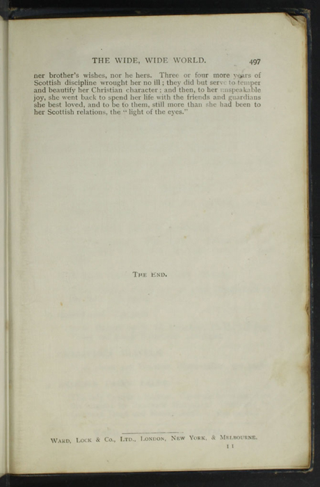 "Last Page of Text with Publisher Information to the [1904] Ward, Lock, & Co., Ltd. ""Complete Edition"" Reprint"
