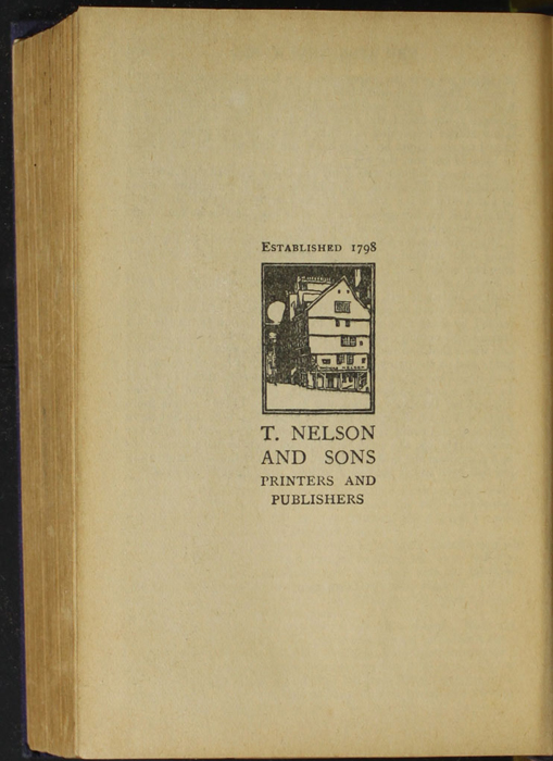 "Colophon for the [1922] T. Nelson  & Sons ""The Nelson Classics"" Reprint"
