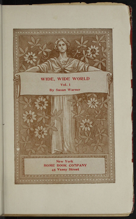Title Page Vignette to Volume 1 of the [1902] Home Book Co. Reprint, Version 1 Depicting a Woman Holding a Title Banner