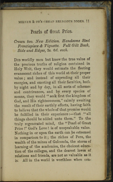 Eleventh Page of Back Advertisements in the [1868] Milner & Co. Reprint, Version 1