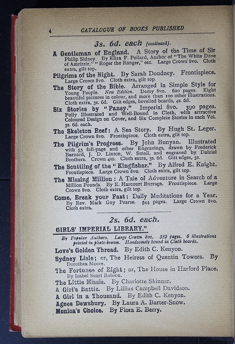 "Fourth Page of Back Advertisements in the [1896] S. W. Partridge & Co. ""Marigold Series"" Reprint"