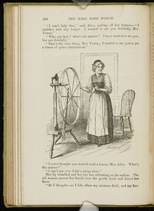 Illustration on Page 188 of the 1896 Hodder and Stoughton Reprint Depicting Mrs. Vawse Spinning