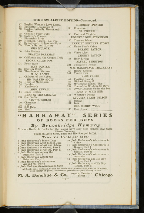 """Third Page of Back Advertisements in the [1902] M. A. Donohue & Co. """"Snug Corner Series"""" Reprint"""