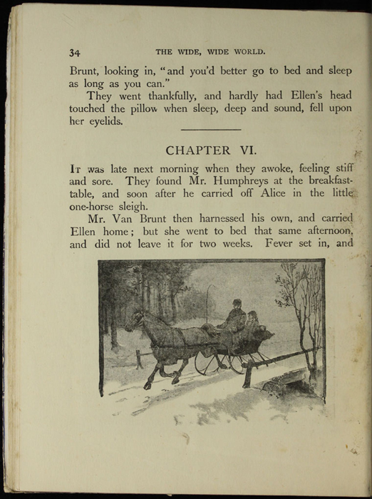 Illustration on Page 34 of the [1918] Thomas Nelson & Sons, Ltd. Abridged Reprint Depicting Ellen and Mr. Van Brunt Taking the Sleigh Back to Aunt Fortune's Farm