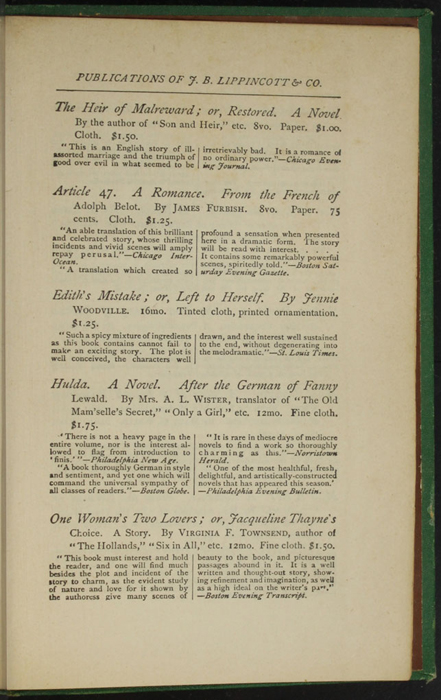 """Fifth Page of Back Advertisement in the 1880 J. B. Lippincott & Co. """"New Edition"""" Reprint"""