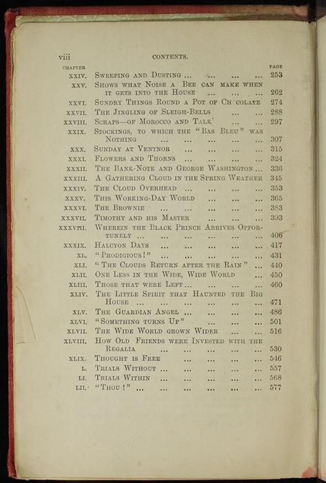 """Second Page of the Table of Contents for [1890] Frederick Warne & Co. """"Star Series"""" Reprint, Version 2"""