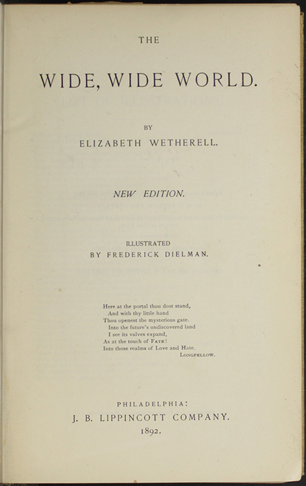 "Title Page to the 1892 J.B. Lippincott Co. ""New Edition"" Reprint"