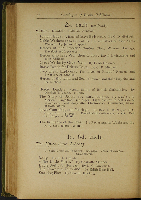 Twelfth Page of Back Advertisements in the [1910] S. W. Partridge & Co., Ltd. Reprint