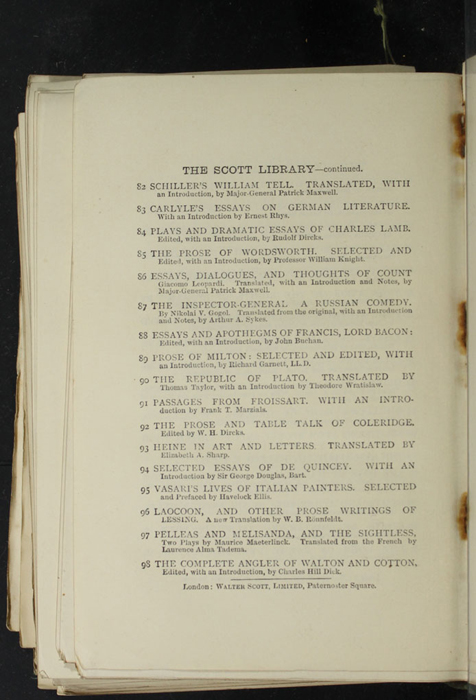 """Eighth Page of Back Advertisements in the [1893] Walter Scott, Ltd. """"Emerald Library"""" Reprint"""