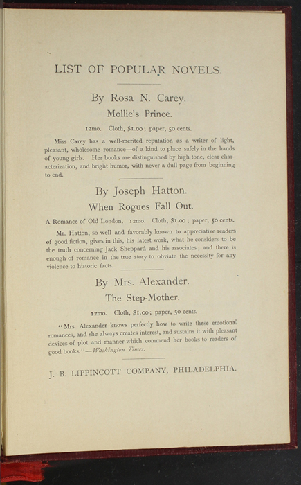 """First Page of Back Advertisements of the 1903 J. B. Lippincott Co. """"New Edition"""" Reprint"""