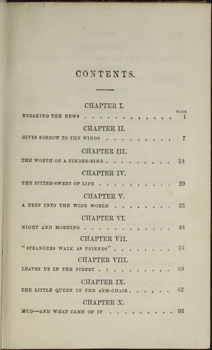 First Page of the Table of Contents of the 1853 G. Routledge and Co. Reprint