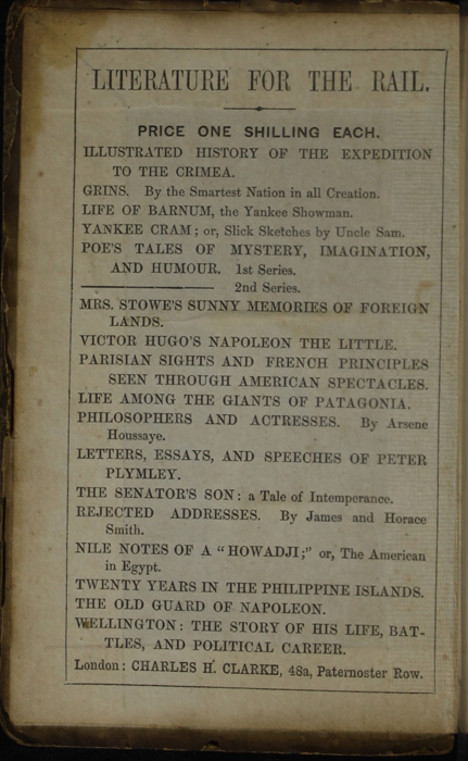 First Page of Front Advertisements in the [1853] Clarke, Beeton, & Co. Reprint, Version 1