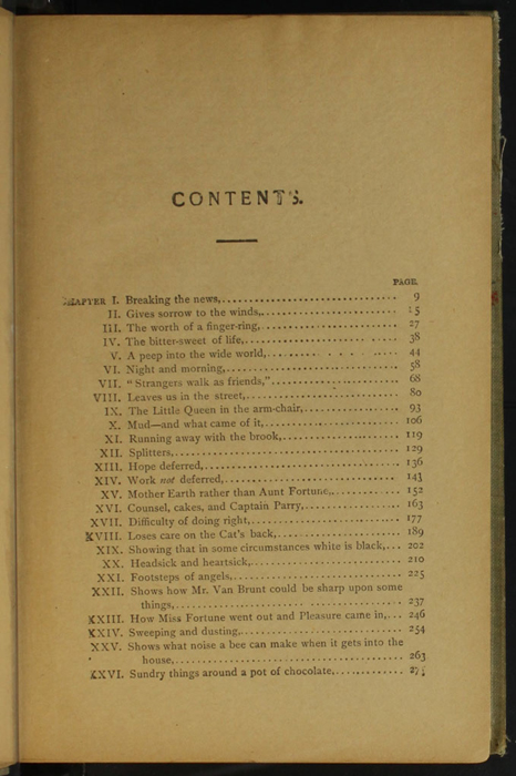 "First Page of the Table of Contents for the [1900] Donohue Brothers ""Completed and Unabridged Ed."" Reprint"