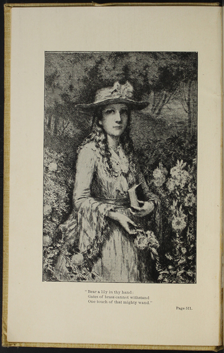 "Frontispiece to the 1892 J. B. Lippincott Co. ""New Edition"" Reprint Depicting Ellen Standing in a Garden"