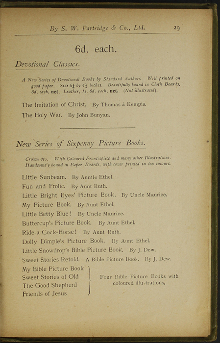 Twenty-Ninth Page of Back Advertisements in the [1910] S. W. Partridge & Co., Ltd. Reprint