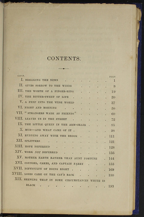 "First Page of the Table of Contents for 1853 James Nisbet, Hamilton, Adams & Co. ""New Edition"" Reprint"