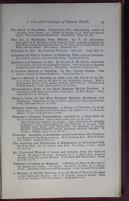 Nineteenth Page of Back Advertisements of the G. Bell 1889 Reprint