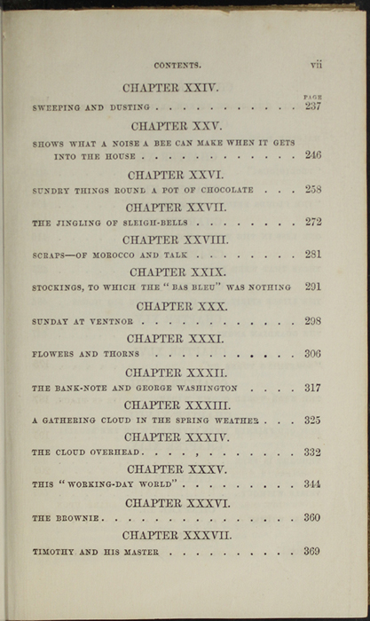 Third Page of the Table of Contents of the 1853 G. Routledge and Co. Reprint