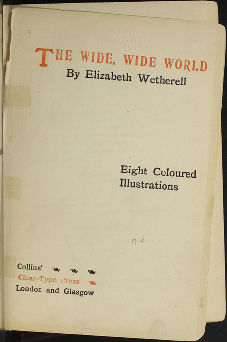 Title Page to the [1907] Collins' Clear-Type Press Reprint