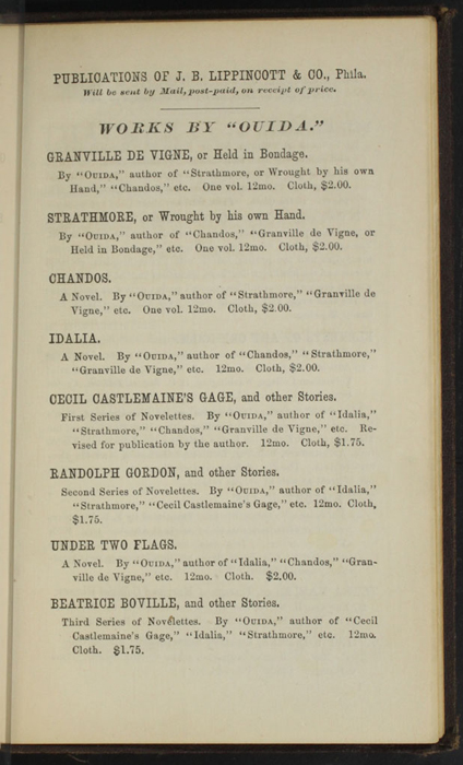 "First Page of Back Advertisements in the 1869 J. B. Lippincott & Co. ""New Edition"" Reprint"
