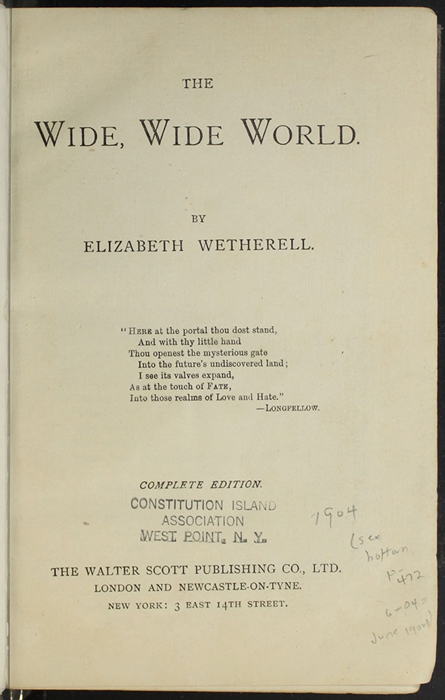 "Title Page to the  [1904] The Walter Scott Publishing Co. Ltd. ""Complete ed."" Reprint"
