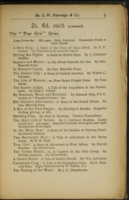 Fifth Page of Back Advertisements in the [1904] S. W. Partridge & Co. Reprint