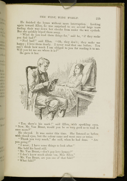 Illustration  on Page 215 of the 1896 Hodder and Stoughton Reprint Depicting Mr. Van Brunt Reading to Ellen at Her Sickbed