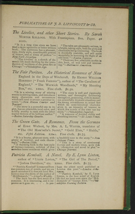 """Third Page of Back Advertisement in the 1880 J. B. Lippincott & Co. """"New Edition"""" Reprint"""
