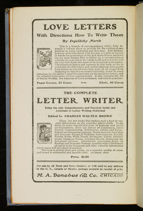 """Fourth Page of Back Advertisements in the [1902] M. A. Donohue & Co. """"Snug Corner Series"""" Reprint"""