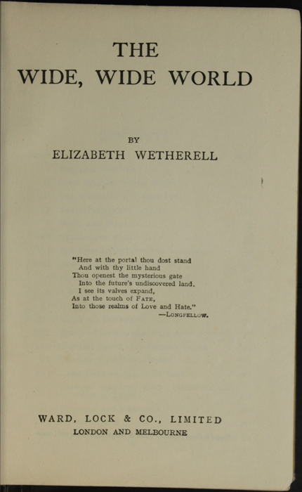 Title Page of the [1926] Ward, Lock, & Co., Ltd., Reprint