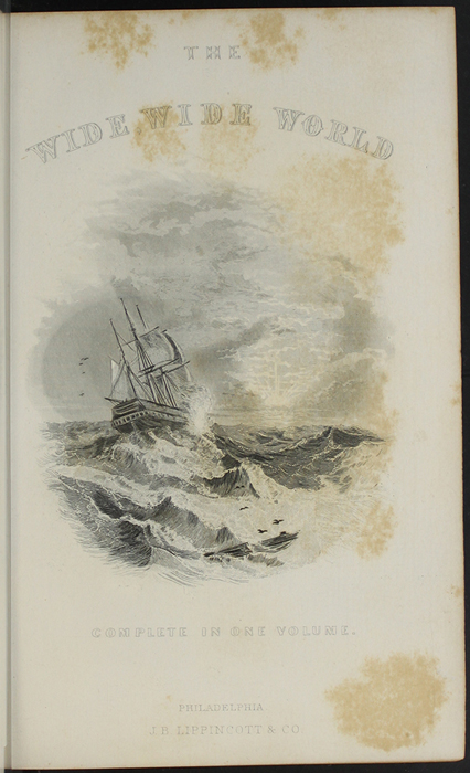 "Title Page Vignette to the 1891 J. B. Lippincott Company ""New Edition"" Reprint, Depicting a Ship at Sea"