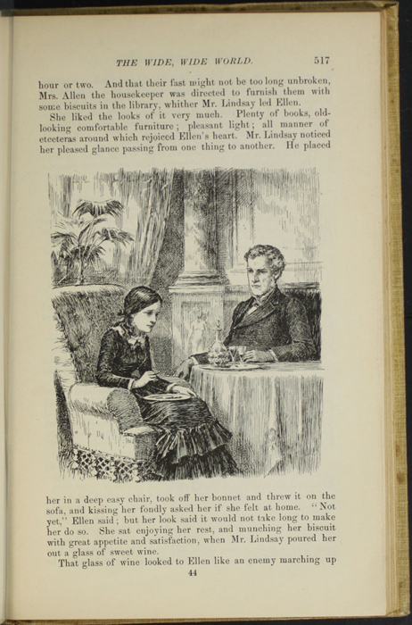 "Illustration on Page 517 of the 1892 J.B. Lippincott Co. ""New Edition"" Reprint Depicting Ellen Sharing Tea with Mr. Lindsay in Edinburgh"
