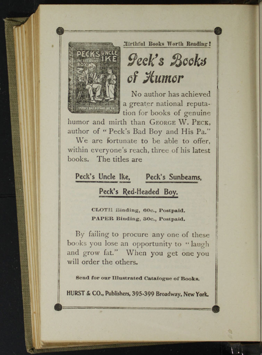 Fourth Page of Back Advertisements in the [1900] Hurst & Co. Reprint, Version 1