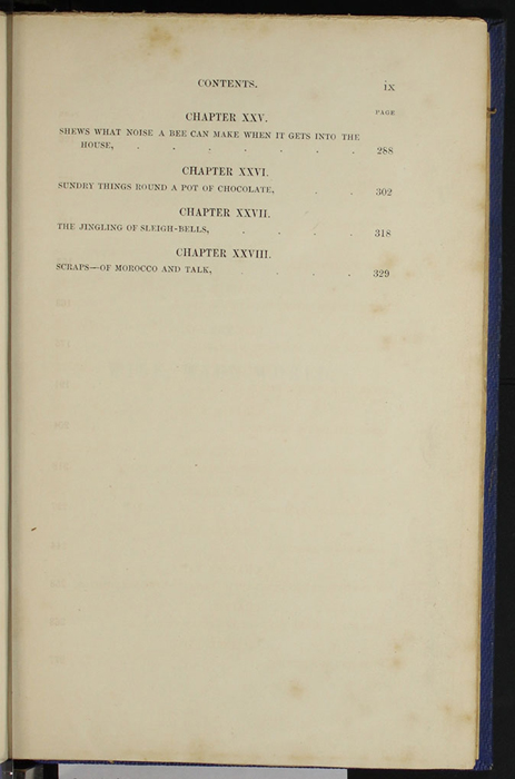"Third Page of the Table of Contents for Volume 1 of the 1852 James Nisbet, Sampson Low, Hamilton, Adams & Co. ""Second Edition"" Reprint"