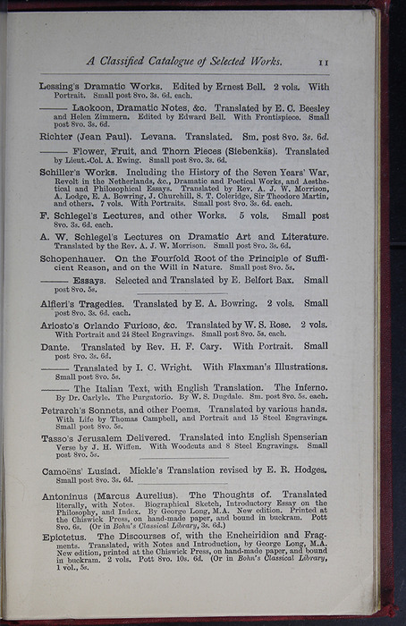 Eleventh Page of Back Advertisements of the G. Bell 1889 Reprint