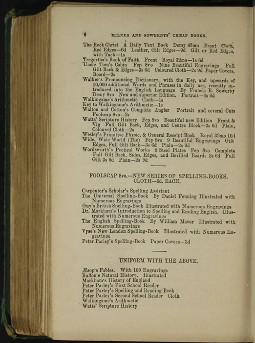 Sixth Page of Back Advertisements in the [1879] Milner & Sowerby Reprint