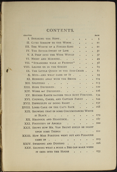 First Page of the Table of Contents for the [1907] Collins' Clear-Type Press Reprint