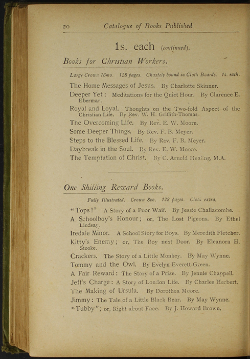 Twentieth Page of Back Advertisements in the [1910] S. W. Partridge & Co., Ltd. Reprint