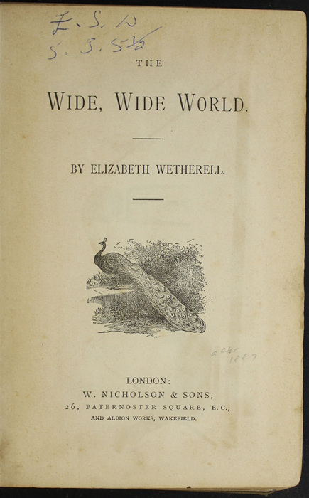 Title Page to the [1887] W. Nicholson & Sons Reprint, Version 1