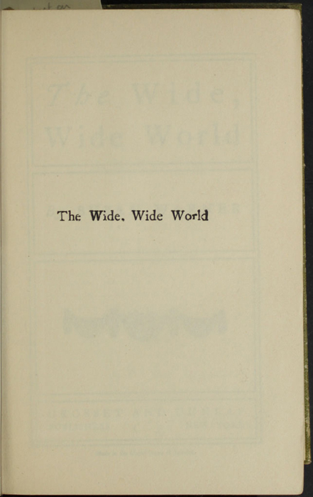 Half-Title Page to the [1907] Grosset & Dunlap Reprint, Version 2
