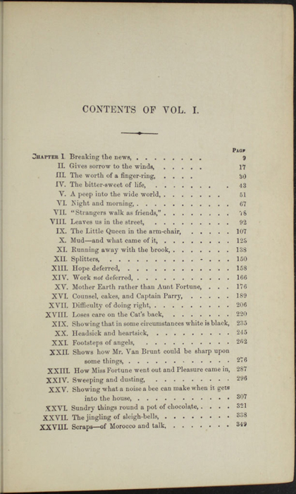 "Table of Contents for Volume 1 of the 1869 J. B. Lippincott & Co. ""New Edition"" Reprint"