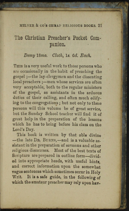 Twenty-First Page of Back Advertisements in the [1868] Milner & Co. Reprint, Version 1