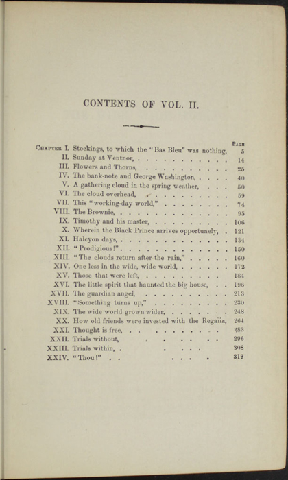 "Table of Contents for Volume 2 of the 1869 J. B. Lippincott & Co. ""New Edition"" Reprint"