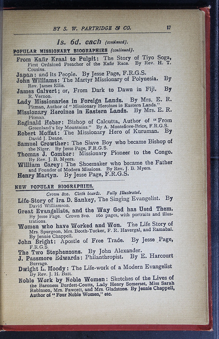 "Seventeenth Page of Back Advertisements in the [1896] S. W. Partridge & Co. ""Marigold Series"" Reprint"