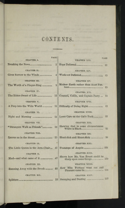 "First Page of the Table of Contents for the 1853 Eli Charles Eginton & Co. ""Pocket Library"" Reprint"