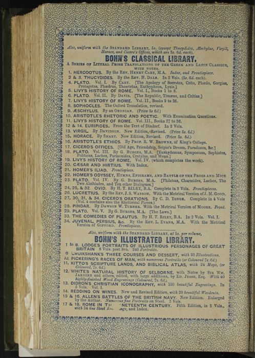"""Second Page of Back Advertisements in the 1853 H. G. Bohn """"Standard Library"""" Reprint"""